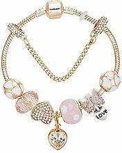 WENEWU Armbänder,herzförmigen Bogen Glas Bead