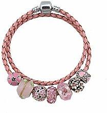 WENEWU Armbänder,Liebe Blume Leder Diamant Glas