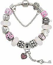 WENEWU Armbänder,Schlüssel Anhänger Glas Perle