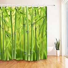 WENHUI Duschvorhang aus Bambus mit Waldblick,