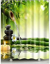 WENHUI Duschvorhang aus Bambus und Wasser,