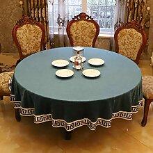 WENJUN Große Runde Stickerei Tischdecke Kleine