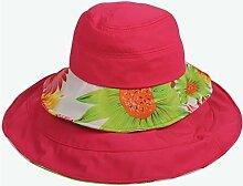 WENJUN Sonnenhut-Sonnenschutz Zusammenklappbar Sonnenhut Außen-Außenstrand-Hut Sonnenhut Omnidirektionaler Multifunktions-Sonnenhut (Farbe : Rose rot)
