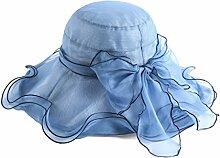 WENJUN Womens Sonnenschutz Cap Mulberry Silk Außen Anti-UV-Visier Sommer Sunhat Große Krempe Floppy Faltbare Roll UPF 50 + Strand Sonnenhut (Farbe : Blau)