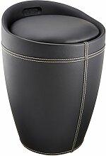 Wenko 21774100 Hocker Candy Black in Lederoptik - Badhocker, mit abnehmbarem Wäschesack, Kunststoff - ABS, 36 x 50,5 x 36 cm, schwarz