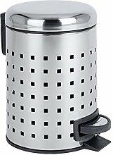 WENKO 22445100 Kosmetik Treteimer Leman Lochdesign Edelstahl - Kosmetikeimer, Mülleimer mit Tretmechanismus, Fassungsvermögen 3 L, Edelstahl rostfrei, 17 x 25 x 22,5 cm, glänzend