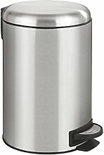 Wenko 22703100 Treteimer Leman Easy Close Edelstahl - Kosmetikeimer, Mülleimer mit Absenkautomatik und Anti-Fingerprint, Fassungsvermögen 12 L, Edelstahl rostfrei, 25 x 38 x 32 cm, satinier