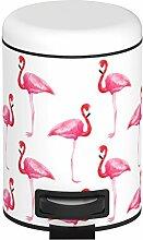 Wenko 22737100 Flamingo Kosmetikeimer, Mülleimer mit Tretmechanismus, Fassungsvermögen 3 L, Stahl, mehrfarbig, 22.5 x 17 x 25 cm