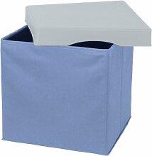 Wenko 2770014100 Aufbewahrungsbox Concept XL - Sitzwürfel, faltbar, Polyester, Kunststoff, 33 x 32 x 33 cm, blau-grau