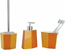 WENKO 3 tlg. BAD ACCESSOIRES SET WC-Garnitur Seifenablage Zahnputzbecher Bicolor orange