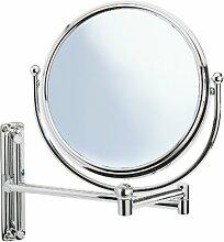 Wenko 3656210100 Kosmetik-Wandspiegel Deluxe - höhenverstellbar, schwenkbar, 100% und 300%, Chrom, Ø 19 cm Spiegel, 31 cm Armlänge, 23 x 28.5 x 33 cm