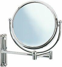 Wenko 3656211100 Kosmetikspiegel Deluxe Groß - Wandspiegel, höhenverstellbar, schwenkbar, Spiegelfläche ø 19cm, 500% Vergrößerung, Stahl, 23 x 28.5 x 33 cm, Chrom