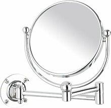 WENKO 3656230100 Kosmetikspiegel Deluxe - Wandspiegel, schwenkbar, Spiegelfläche ø 11.5cm, 300% Vergrößerung, Stahl, 15 x 20 x 23.5 cm, Chrom