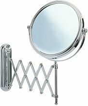 WENKO 3656241100 Kosmetikspiegel Deluxe Teleskop - Wandspiegel, höhenverstellbar, schwenkbar, Spiegelfläche ø 19cm, 500% Vergrößerung, Stahl, 23 x 38 x 50 cm, Chrom