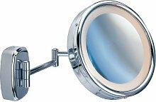 WENKO 3656270100 Kosmetikspiegel mit Touch-Funktion - Wandspiegel, beleuchtet, schwenkbar, Spiegelfläche ø 16.5cm, 500% Vergrößerung, Stahl, 22.5 x 36 x 22.5 cm, Chrom