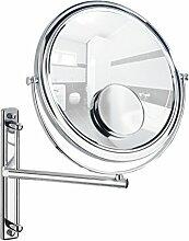 Wenko 3656370100 Kosmetikspiegel Bivona - Wandspiegel, höhenverstellbar, schwenkbar, Spiegelfläche ø 25.5cm, 300/700% Vergrößerung, Stahl, 30 x 34 x 22.5 cm, Chrom