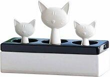 WENKO 52608100 Luftbefeuchter Katzenfamilie - Keramik-Verdunster, Keramik, 22 x 15.5 x 8.5 cm, Weiß