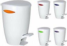 WENKO Abfalleimer - 5 Liter - Farbwahl möglich - Treteimer - Badeimer - Mülleimer - Eimer - Kosmetikeimer - Tretmülleimer - Abfallsammler, Farbe:Orange