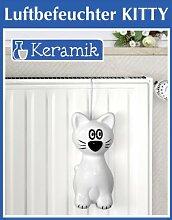 WENKO Luftbefeuchter Kitty - Keramik-Verdunster - 24 x 10,5 x 6,5 cm - weiss-schwarz - Wasserverdunster für Heizung - Raumbefeuchter - Heizung