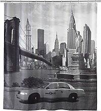 WENKO Textil Foto Duschvorhang NEW YORK mit 12