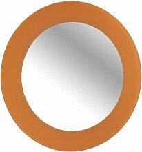 WENKO Wandspiegel Tropic Orange - 50 cm Ø - MIT & OHNE Bohren - Kosmetikspiegel - Badspiegel - Spiegel - Rasierspiegel