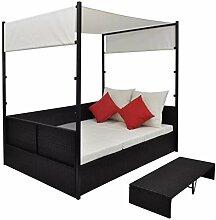 WENXIA Doppelbett Rattanbett für 2 Personen mit