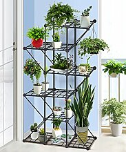 wenzhe Blume Ständer Edelstahl Blume Racks minimalistischen modernen Creative Balkon Wohnzimmer Display Ständer Büro Regalen Blumentopf Rack schwarz Blumentopf Regal, 66*22*108cm-b