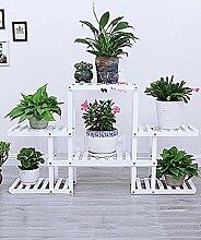 WENZHE Blumenständer Blumenregal Hölzern Bodenart 4. Stock Blumentopf Regal europäischer Stil Innen- draussen Einlegeböden Pflanzenregale Blumenständer ( Farbe : Weiß , größe : 124cm*25cm*73cm )