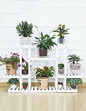 WENZHE Blumenständer Blumenregal Holz Bodenart Blumentopf Regal europäischer Stil Innen- draussen Einlegeböden Pflanzenregale Blumenständer ( Farbe : B )