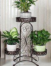 WENZHE Blumenständer European-style schmiedeeisernen Boden Flower Pot Regal für Balkon, Interior, Wohnzimmer Blumenständer ( Farbe : Bronze )