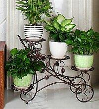 WENZHE Blumenständer Iron Flower Rack Mehrstöckige Balkon Blumentöpfe Regal Wohnzimmer Indoor Flower Racks Blumenständer ( Farbe : Messing )