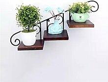 WENZHE Blumenständer Wand Kreativer Blumenrahmen Eisen Wand Hänge Töpfe Regal Balkon Wand Massivholz Regale Regal Blumenständer