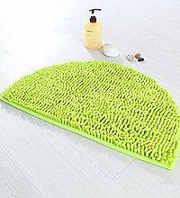WENZHE ditan Chenille Türmatten Bad Anti-Rutsch-Fußmatten Halbkreis-Dicker Fußteppich Bereich Teppich ( Farbe : Grün , größe : 40*63cm )
