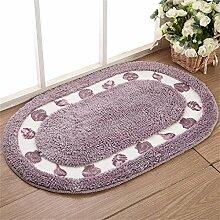 WENZHE ditan Pastorale ovale Tür Matte Schlafzimmer Verdickte Teppich Badezimmer rutschfeste saugfähige Wohnzimmer Fuß Teppich Bereich Teppich ( Farbe : Lila , größe : 40*60cm )