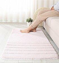 WENZHE ditan Striped Ultrafine Fiber Water Absorbent Anti-Rutsch Türmatten Bad Bodenmatten Fußteppich Bereich Teppich ( Farbe : Pink , größe : 68*114cm )