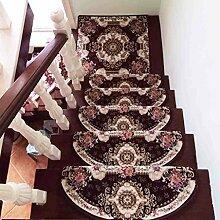 WENZHE ditan Treppe Stufenmatten 5er SparSet , im europäischen Stil Treppenhaus Pad Bereich Teppich ( Farbe : M , größe : 24*64cm/5 )
