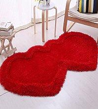 WENZHE ditan Verdickte Herzförmiges Teppich-Verbind Schlafzimmer Wohnzimmer Couchtisch Bettvorleger, Matten, 6 Farboptionen Bereich Teppich ( Farbe : F , größe : 0.8*1.6m )