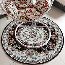 WENZHE Europäische Art Rundschreiben Teppich Nachttisch Teppich Computer Drehstuhl Matte Haushalt Stuhl Kissen Kletterstuhl Teppich Bereich Teppich ( Farbe : F , größe : 120*120cm )