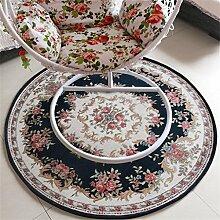 WENZHE Europäische Art Rundschreiben Teppich Nachttisch Teppich Computer Drehstuhl Matte Haushalt Stuhl Kissen Kletterstuhl Teppich Bereich Teppich ( Farbe : O , größe : 90*90cm )