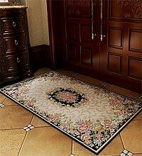 WENZHE Europäische Chenille-rechteckige Hauptboden-Tür-Matten-Teppiche Rutschfeste Fuß-Auflage Bereich Teppich ( Farbe : L , größe : 50*80cm )