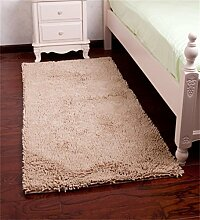 WENZHE Europäische Schlafzimmer-Teppich Verschleißfeste Matte Anti-Rutsch-Absorbent Fuß Teppich Wohnzimmer Teppich Bereich Teppich ( Farbe : Beige , größe : 70*140cm )