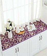 WENZHE European-style Baumwoll-und Leinenteppich Anti-Rutsch-schwimmende Fenster Matten Custom Matratze Schlafzimmer Kissen Bereich Teppich ( Farbe : C , größe : 80*180cm )