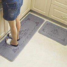 WENZHE Küche Teppich Küchenmatten Latex Rutschfest Wasseraufnahme Ölbeständig Waschmaschinenfest, Verdickung 22mm, 2 Stücke ( Farbe : Grau )