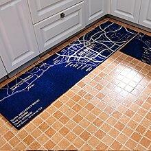 WENZHE Küche Teppich Küchenmatten Rutschfest Wasseraufnahme Ölbeständig Maschine Kann Waschen, Dicke 11mm, 4 Größen ( Farbe : Blau , größe : 50*80cm )