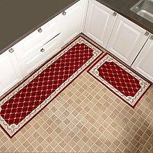 WENZHE Küche Teppich Küchenmatten Rutschfest Wasseraufnahme Ölbeständig Waschmaschinenfest 2 Stück Installiert 7 Arten Von Spezifikationen ( Farbe : Rot , größe : 50*180cm )