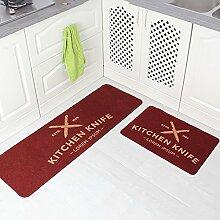 WENZHE Küche Teppich Küchenmatten TPR Am Ende Rutschfest Wasseraufnahme Ölbeständig Waschmaschinenfest, 2 Stücke ( Farbe : E )