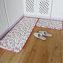 WENZHE Küche Teppich Küchenteppich Küchenmatten Fußabtreter Türmatten Badetür Rutschfest Wasseraufnahme Ölbeständig Waschmaschinenfest, Dick 15mm, 2 Stücke ( Farbe : Pink , größe : 40*60cm+50*80cm )