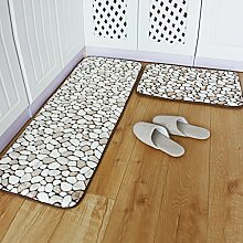 WENZHE Küche Teppich Küchenteppich Küchenmatten Fußabtreter Türmatten Badetür Rutschfest Wasseraufnahme Ölbeständig Waschmaschinenfest, Dick 15mm, 2 Stücke ( Farbe : Braun , größe : 3*(40*60cm) )