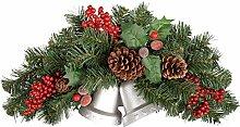 WeRChristmas–Weihnachtliche Wanddekoration mit echten Tannenzapfen, Beeren und 2Glocken, 30cm, Farbe: Ro