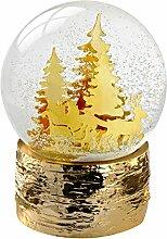 WeRChristmas 15cm Schneekugel Santa Schlitten und Weihnachtsbäume Dekoration, Gold